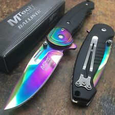 M TECH Ballistic Spring Assisted Rainbow Blade Titanium Coated SS Bolster Knife
