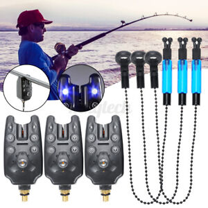 Electronic Fish Bite LED Light Sound Alarm Alert Bell Clip on Fishing Rod Black