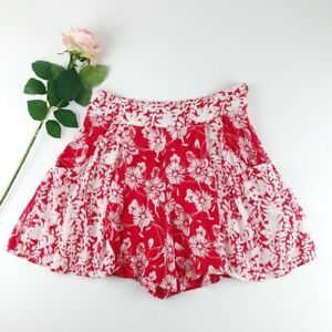 Free People Red Floral High Waist Shorts w Pockets Sz 2