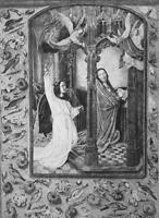 ANNUNCIATION to Blesses Virgin Mary - 1876 ETCHING Print after Memling