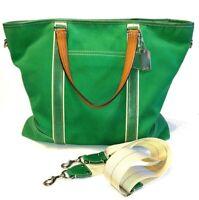 COACH Green Canvas Leather Trim XL Tote Weekend Duffle Gym Bag