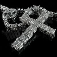 14k White Gold CZ Out Iced ROSARY SQUARE Silver Cross Pendant Men Necklace Chain