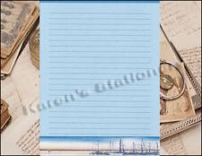 Sail Boat Harbor Scene Lined Stationery Set 25 sheets & 10 envelopes 8.5 X 11