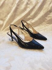 Enzo Angiolini black Leather croc slingback Sandal 37.5 7.5