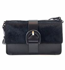 Innue Italian Black Soft Fur & Leather Womens Satchel Shoulder Evening Handbag
