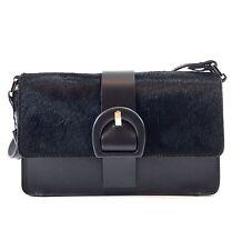 Innue Italian Black Pony Skin & Leather Womens Satchel Shoulder Evening Handbag