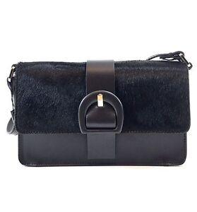 Innue Italian Black Soft Fur & Leather Womens Satchel Shoulder Evening Handbag