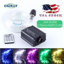 16W 28key RF Remote RGBW LED Fiber Optic Star Ceiling Light Kit 450pcs 3M 0.75mm
