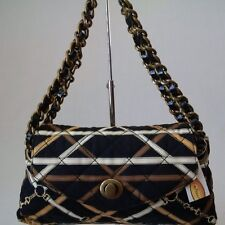 *NWT* TALBOTS QUILTED PRINT FABRIC & LEATHER BAGUETTE HANDBAG PURSE BLACK