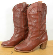 Dexter USA Vtg Womens Sz 8 Leather Wood Stacked Heel Western Cowgirl Boots