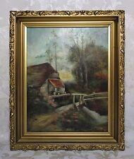 Antique 19th Century Hudson River School Oil Painting Forest Landscape Signed