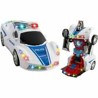 TRANSFORMATION ROBOT POLICE CAR TOY WITH LIGHTS AND SOUNDS FOR KIDS BUMP AND GO