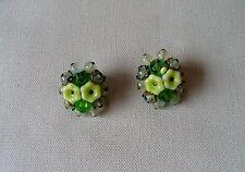 Ganz tolle 50er Jahre USA Blüten Ohrringe-Clips aus Lucite und Glas hell Grün
