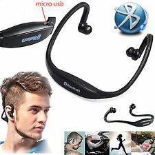 BLACK HEADSET WIRELESS BLUETOOTH SPORT, GYM RUNNING FOR SAMSUNG GALAXY XCOVER 3
