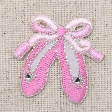 Iron On Applique Embroidered Patch Pink Ballet Slippers with Rhinestone