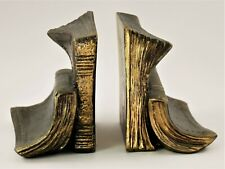 Vintage Book Ends Old Books Gold/Bronze Finish Heavy (2)