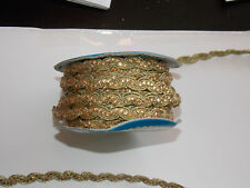 1m 10mm gold crystal ricrac embroidered ribbon lace applique trimming decor