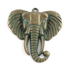 Anhänger Elefant messing patiniert ca 54x48x5,5mm 1x