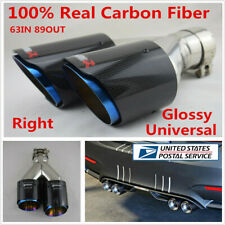 Right Side Real Carbon Fiber Car Dual Exhaust Tail Muffler Tip Pipe Chrome Blue