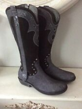 Ladies Cowboy - Biker Style Leather And Suede Laura Biagiotti Boots Size 6 Eu 39