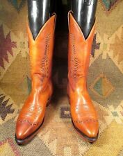 $$$ Boulet Brown  Leather Cowboy Boots size USA -6.5 C Made In Canada