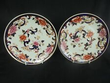 TWO MASONS PATENT IRONSTONE PLATES ~ DECORATED IN THE BLUE MANDALAY PATTERN ~