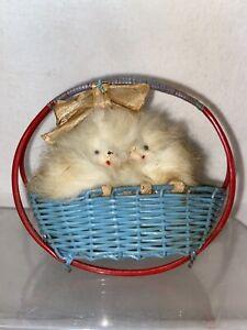 Vtg 59-60's White Fur Puppy Dogs Maltese Blue Plastic Basket Figurine Mini Toy