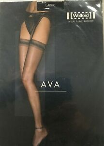 Sexy Erotic Nylon Fetish Wolford Ava Black Stockings, Large