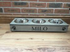 SMALL 3 BOWL RAISED PET BOWLS IN GREY  CAN BE PERSONALISED