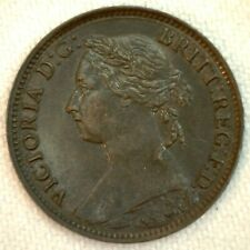 1884 Great Britain Bronze Farthing Coin XF Extra Fine
