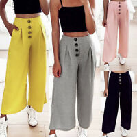 New Summer Stretch Casual Trousers Women Button Ruched High Waist Wide Leg Pants