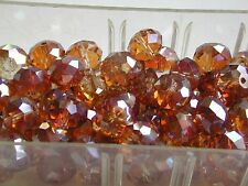 Vintage Golden Iris AB Fire Polished 13mm VERY FACET Czech Glass Beads RARE FIND