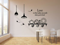 Vinyl Wall Decal Quote Kitchen Utensils Dining Room Butterfly Stickers (g1354)