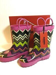 Missoni For Target Girls Zig Zag Fuschia ABN66 Rain Boots NIB Size Med 9/10 NEW