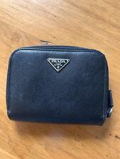 5870c93ea12db4 PRADA Black Saffiano Leather Zip Around/Foldover Wallet (authentic, EUC)