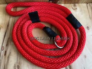 """DOG SLIP LEAD-ROPE-L/XL-up to 120 lb RED -1/2"""" X 6' LONG FREE SHIP (362)"""