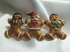 HOLIDAY Colorful Row Christmas GINGERBREAD w/ SWAROVSKI Crystal Brooch H1-BR07
