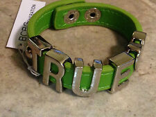 NEW! BCBG GENERATION GREEN FAUX LEATHER SNAP TRUE <3 METAL LETTER CHARM BRACELET