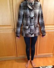 Women's O'neill Waist jacket Small Plaid Toggle Lined Coat