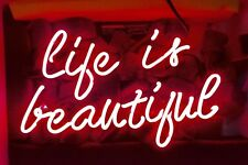 "LIFE IS BEAUTIFUL Home Lamp Beer Bar Live Nude Club NFL NEON LIGHT SIGN 12""X7"""