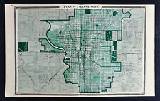 1876 Indiana Map - Indianapolis City Plan  Marion County Irvington State Capitol