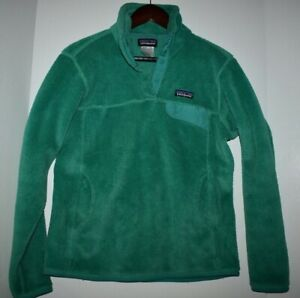 Patagonia Women Re Tool Snap T Pullover Fleece Jacket Size Medium Green Polartec