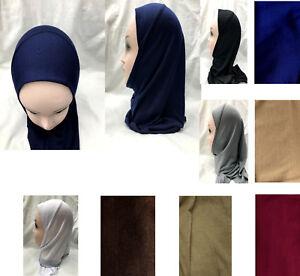 MUSLIM KIDS GIRLS/ADULT HIJAB ISLAMIC HEADSCARF PLAIN SCARF ONE PIECE CHILDREN