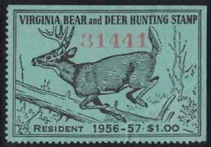 Virginia VA Hunting Bear and Deer Stamp Mint 37 1956-57 Resident $1.00