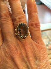 Vintage Large Oval Smoky Quartz Ring 14k Yellow Gold Size 6