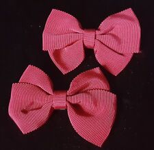 """Vtg 1950s-1960s MAROON RED Double Bow GROSGRAIN Ribbon SHOE CLIPS 2"""" x 3""""  MCM"""