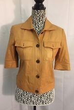BILL BLASS NEW YORK Unique Soft Leather Orange Tan 3/4 Sleeve Jacket Sz 0 Cute!!