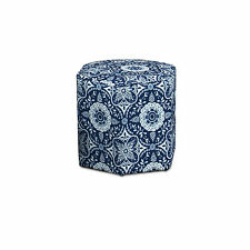 Remsoft Vintage Round Ottoman Footstool Home Decor Blue & White Porcelain 1 PCS