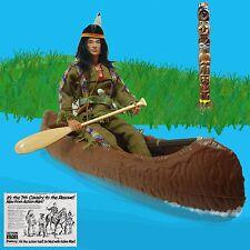 Vintage Action Man Indian Brave w/ Cherilea Canoe & Marx Totem Pole  GI Joe