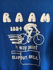 VTG RAAM 1994 Race Across America Bicycle/Bike Blue Slapout OK 1/2 Way T Shirt M